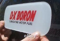 Vintage DX Boron Glass Gas Pump Insert Gasoline Oil Sign Early Service Station