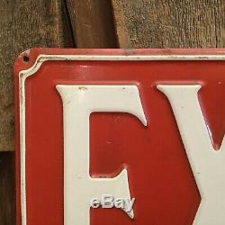 Vintage Embossed Industrial Plant Factory Gas Service Station Metal EXIT Sign