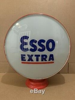 Vintage Esso Extra Gas Pump Globe Light Glass Lens Service Station Garage Tiger
