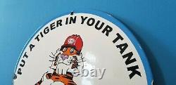 Vintage Esso Gasoline Porcelain Gas Auto Tiger Service Station Pump Plate Sign