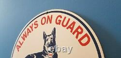 Vintage Esso Gasoline Porcelain Gas Guard Dog Service Station Pump Plate Sign