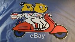 Vintage Esso Gasoline Porcelain Gas Motor Service Station Pump Plate Ad Sign