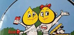Vintage Esso Gasoline Porcelain Gas Motor Service Station Pump Plate Sign