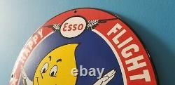 Vintage Esso Gasoline Porcelain Gas Oil Service Station Aviation Pump Sign