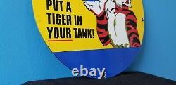 Vintage Esso Gasoline Porcelain Gas Tiger Tank Service Station Pump Plate Sign