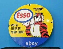 Vintage Esso Gasoline Porcelain Gas Tiger Tank Service Station Pump Sign
