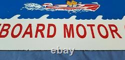 Vintage Esso Gasoline Porcelain Outboard Gas Motor Oil Service Station Pump Sign