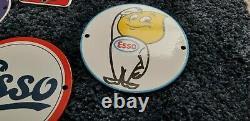 Vintage Esso Gasoline Porcelain Tiger Auto Gas Service Station Pump Door Signs