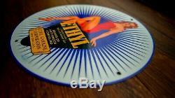 Vintage Ethyl Gasoline Porcelain Sign Gas Oil Service Station Pump Plate Rare