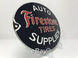 Vintage Firestone Tires Porcelain Sign, Auto Supplies, Service Station, Gas, Oil