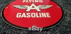 Vintage Flying A Gasoline Porcelain Metal Gas Sign Service Station Pump Plate Ad