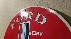 Vintage Ford Motors Porcelain Mustang Dealer Gas Automobile Service Station Sign