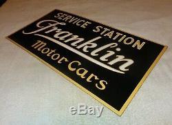 Vintage Franklin Motor Cars Service Station 26 Porcelain Metal Gas & Oil Sign