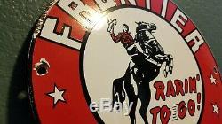 Vintage Frontier Gasoline Porcelain Gas Metal Service Station Cowboy Pump Sign