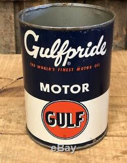 Vintage GULF GULFPRIDE Motor Oil 1 Qt Gas Service Station Tin Can Sign