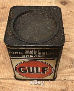 Vintage GULF gas Service Station HIGH PRESSURE GREASE 5 Lb Metal Can