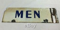 Vintage Gas Oil Service Station Store Men's Porcelain Sign Restroom Original