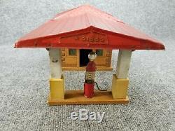 Vintage Gibbs Toy Gas Service Station USA Tin Litho & Wood Nice! Rare