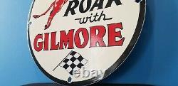 Vintage Gilmore Gasoline Porcelain Gas Service Station Pump Plate Ad Sign