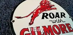 Vintage Gilmore Gasoline Porcelain Metal Gas Service Station Pump Plate Ad Sign
