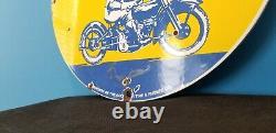 Vintage Goodyear Motorcycle Porcelain Gas Bike Tires Service Station Pump Sign