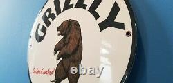 Vintage Grizzly Bear Gasoline Porcelain Gas Motor Oil Service Station Pump Sign