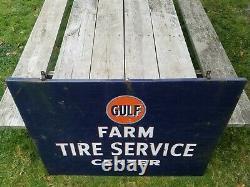 Vintage Gulf Farm Tire Service Center Oil Gas Station Advertising Porcelain Sign