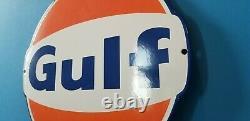 Vintage Gulf Gasoline Porcelain Gas Oil Service Station Pump Plate Large Sign