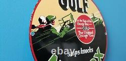 Vintage Gulf Gasoline Porcelain Gas Service Station Pump Plate Motor Oil Sign