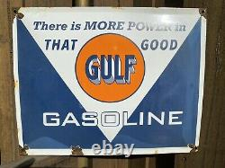 Vintage Gulf Gasoline Porcelain Sign USA Gas Oil Service Station Power Pump 17