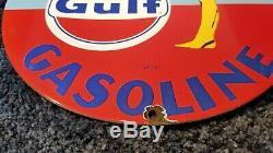 Vintage Gulf Porcelain Gas Motor Oil Service Station Pump Plate Pin Up Girl Sign