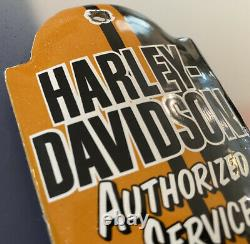 Vintage Harley Davidson Motorcycle Porcelain Thermometer Service Station Gas Oil
