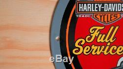 Vintage Harley Davidson Porcelain Sign Service Station Gas Oil Pump Plate Rare