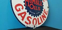 Vintage Humble Gasoline Porcelain Gas Oil Texas Service Station Pump Sign
