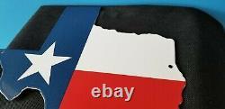 Vintage Humble Oil Co Porcelain Texas Flag Gas Service Station Pump Plate Sign