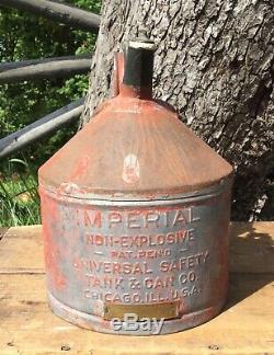 Vintage IMPERIAL Motor Oil Tank Can Co. Oiler Gas Service Station Sign Canister