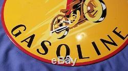 Vintage Indian Gasoline Motorcycle Porcelain Gas Service Station Pump Plate Sign