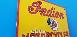 Vintage Indian Motorcycle Porcelain Gas Bike USA Chief Service Station Pump Sign