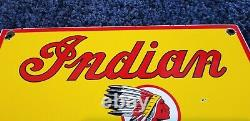 Vintage Indian Motorcycle Porcelain Gas Chief Service Station Pump Sign