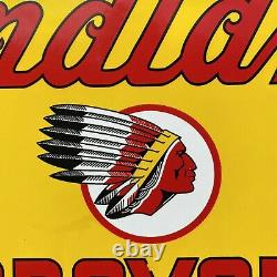 Vintage Indian Motorcycle Porcelain Metal Sign USA Oil Gas Station Service Lube