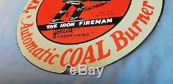 Vintage Iron Fireman Gas Oil Coal Burner Porcelain Service Station Pump Sign