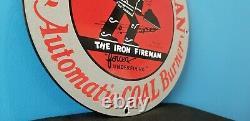 Vintage Iron Fireman Gas Oil Coal Burner Porcelain Service Station Sign