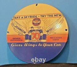 Vintage Johnson Gasoline Porcelain Gas Oil Service Station Pump Plate Sign