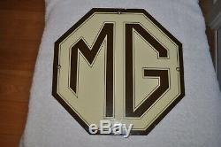 Vintage MG Porcelain sign gas oil metal service station RARE
