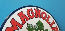 Vintage Magnolia Gasoline Porcelain Gas Oil Service Station Pump Plate Sign
