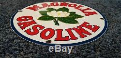 Vintage Magnolia Gasoline Porcelain Gas Service Station Pump Plate Ad Sign