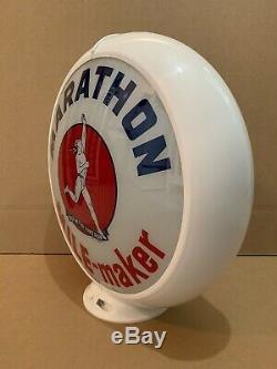 Vintage Marathon Gas Pump Globe Light Glass Lens Service Station Garage Oil