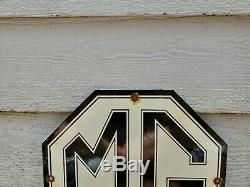 Vintage Mg Automobile Porcelain Gas Oil Service Station Pump Sign England Rare