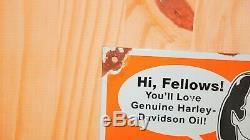 Vintage Miss Harley Davidson Porcelain Sign Gas Oil Pump Plate Service Station