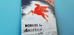 Vintage Mobil Gasoline Pegasus Porcelain Service Station Gas Oil Pump Sign